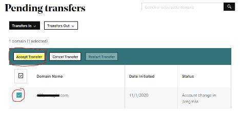 Pending transfers