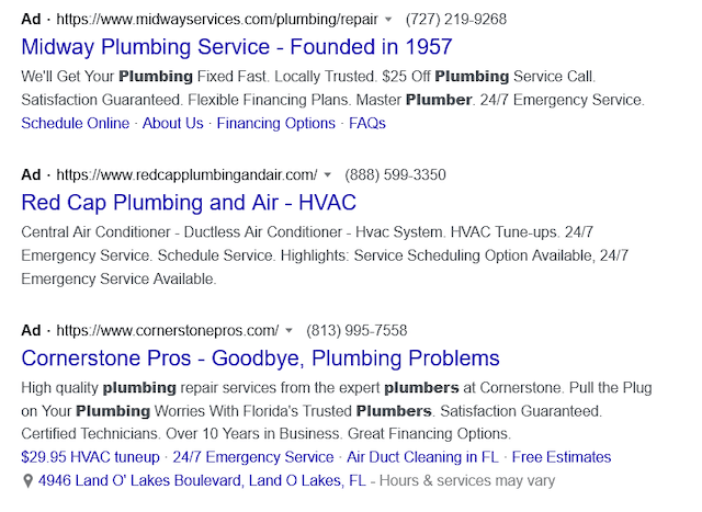Second screenshot of plumbing Google Search