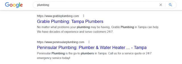 Screenshot of plumbing Google Search