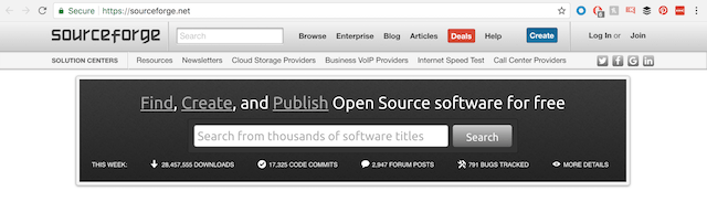 Screenshot of SourceForge search bar