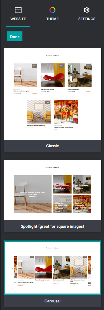 Featured Products layout options