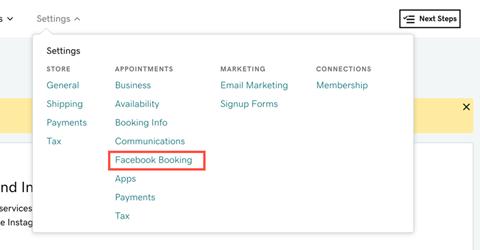 Websites + Marketing Ecommerce Facebook Booking options
