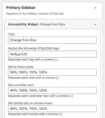 WordPress Accessibility Widget