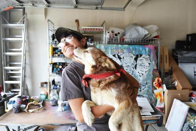 Sara Sandoval with her dog Mocha