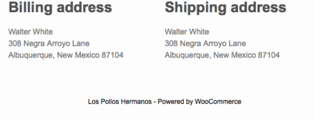 Billing and Shipping Address