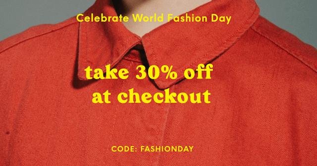 GoDaddy Studio template take 30% off at checkout for world fashion day
