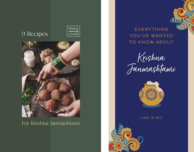GoDaddy Studio template with info on Krishna Janmashtami