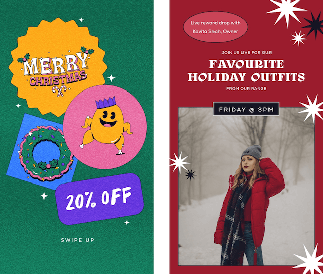 GoDaddy Studio templates made for Christmas sales