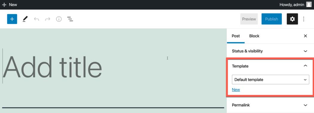Screenshot: WordPress post editor with a template editor displaying on the right sidebar