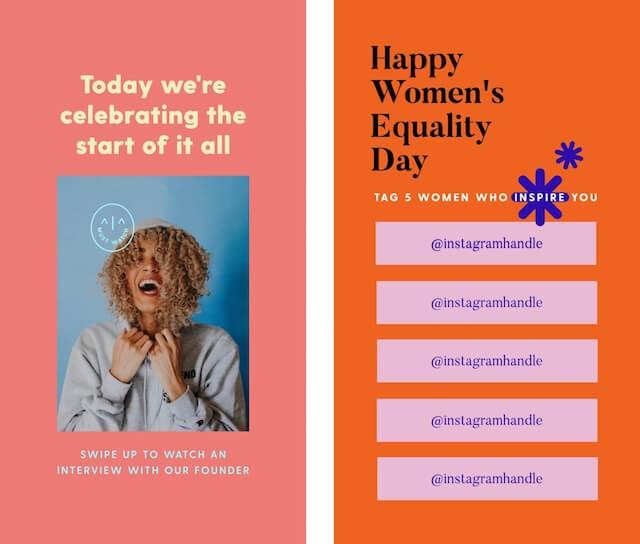 GoDaddy Studio template celebrating women's equality day