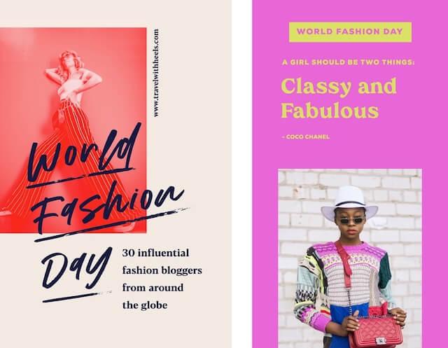 GoDaddy Studio templates for world fashion day
