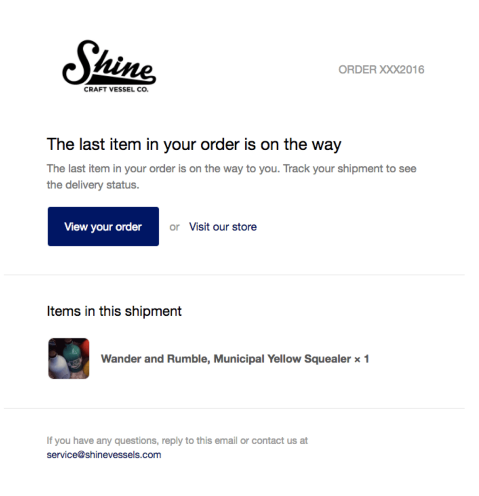 Shine - Confirmation Email