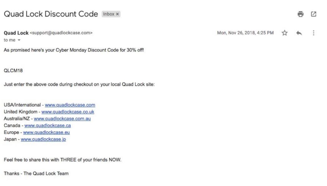 Quad Lock discount codes email