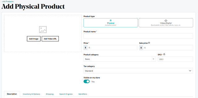 Adding a new product on GoDaddy Online Store