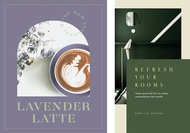 GoDaddy Studio templates for lavender lattes and spring colors