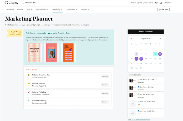Websites + Marketing planner view