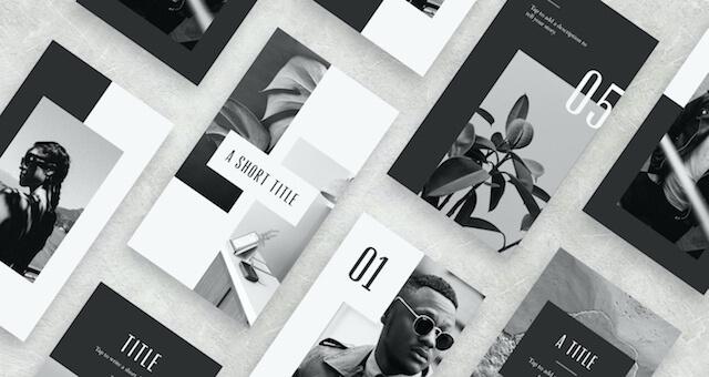 Modern monochrome layouts from GoDaddy Studio