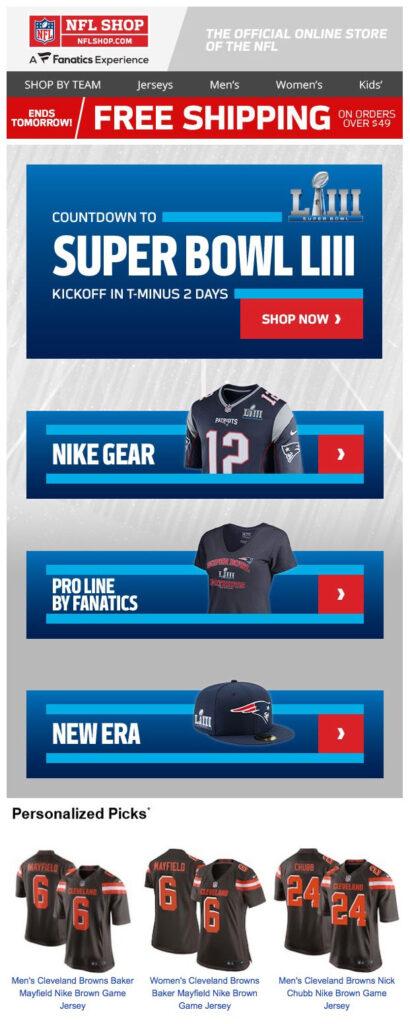 Super Bowl email