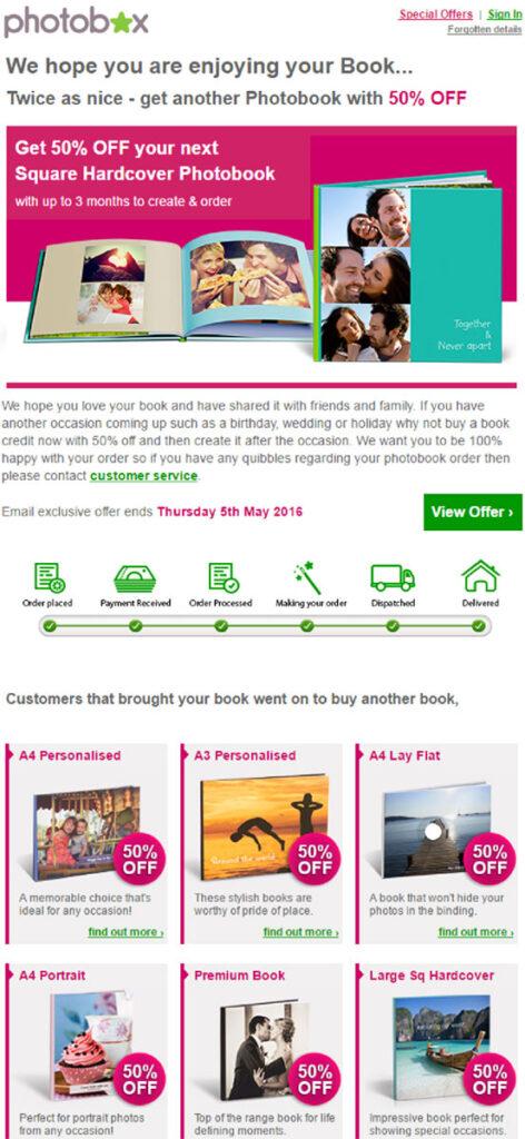 Photobox discount email