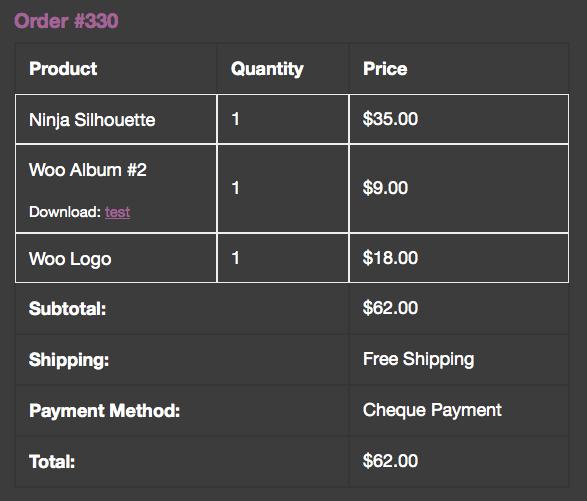 WooCommerce order items