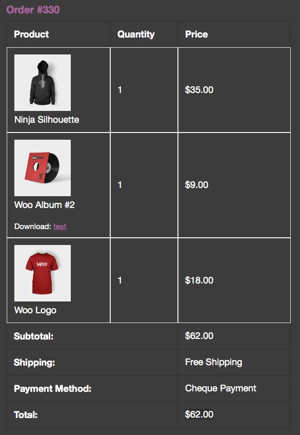 WooCommerce order items 2