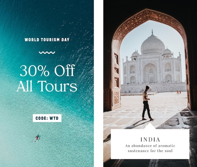 ocial media ad examples for World Tourism Day