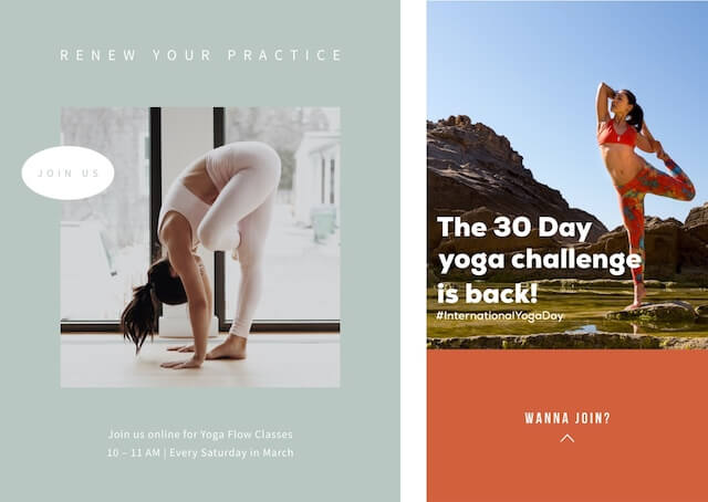 Social ads for Yoga Month with GoDaddy Studio