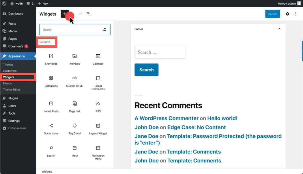 Screenshot displaying Appearance > Widgets > Block-based widgets