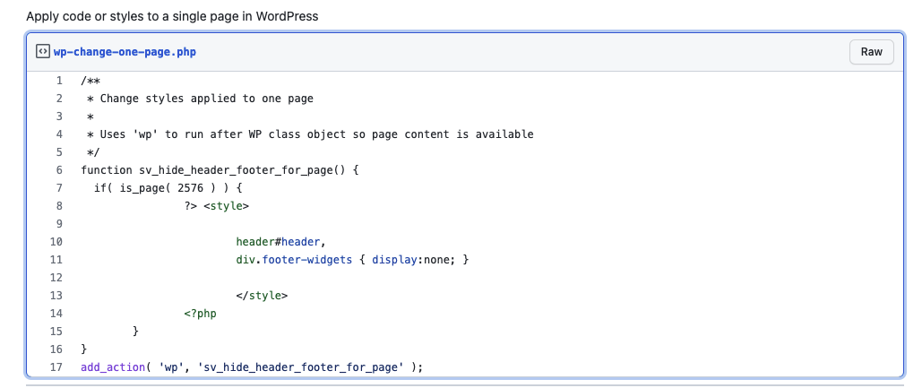 Code Snippet WP Change