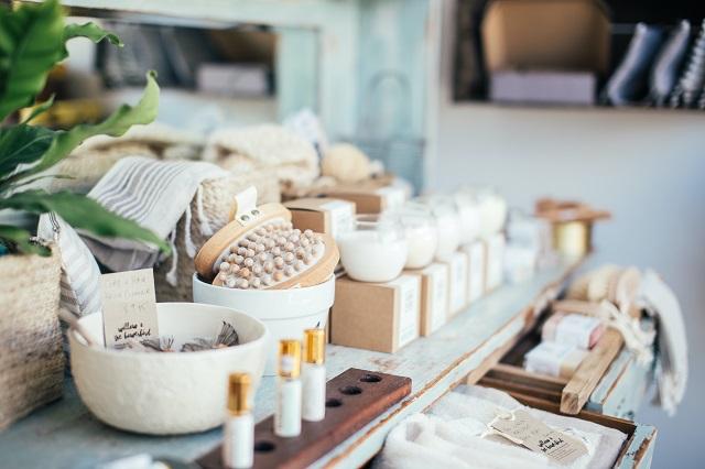 Bath supplies on a display