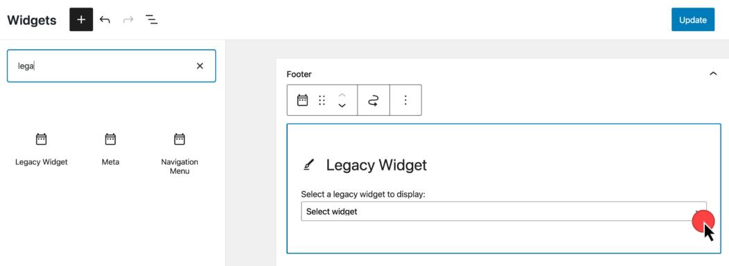Screenshot inserting a legacy widget