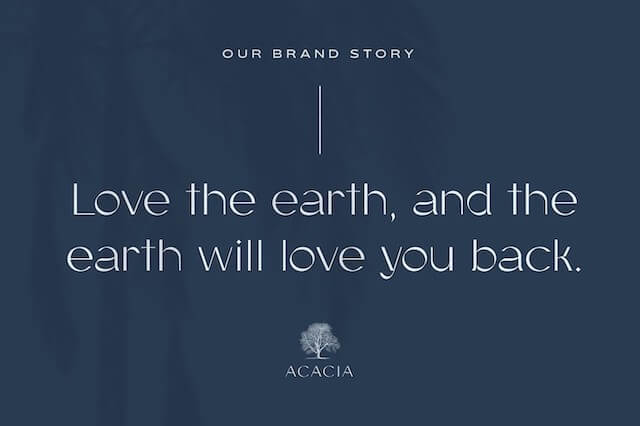 Example of a graphic with a slogan for the example Acacia