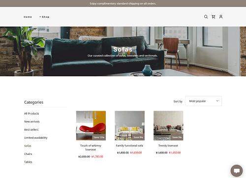 Sofa category page