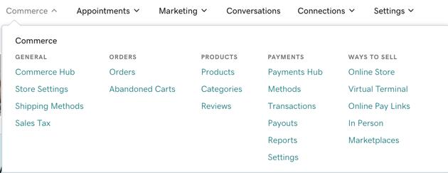 Commerce navigation panel in Websites + Marketing Ecommerce
