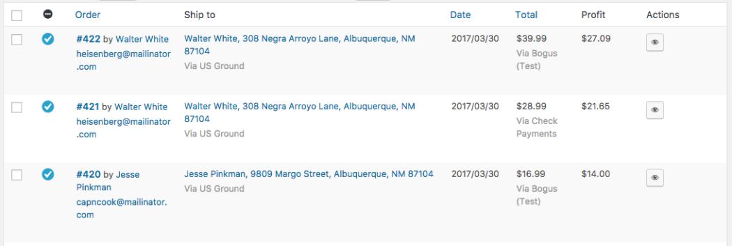 WooCommerce Orders List Status