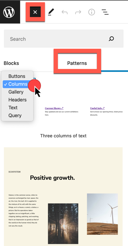 Insert block, select the Patterns tab, select the dropdown for pattern categories, and preview the pattern choices