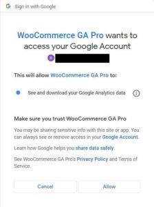 Google Analytics WooCommerce Access