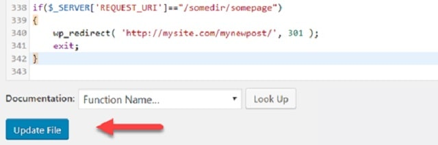 301 Redirects WordPress Update File