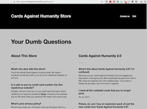 FAQ Page Card Against Humanity FAQ Your Dumb Questions Page