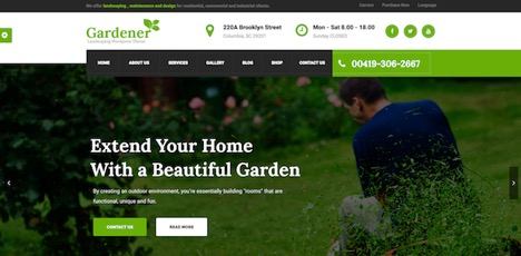 Gardener WordPress Theme For Garden Supplies