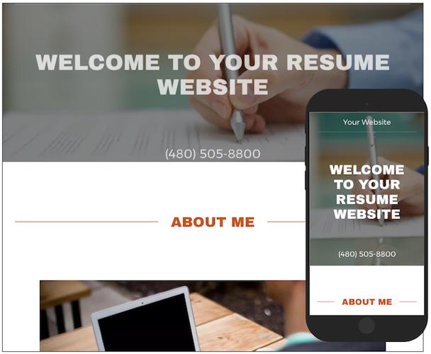 GoCentral Resume Website Template
