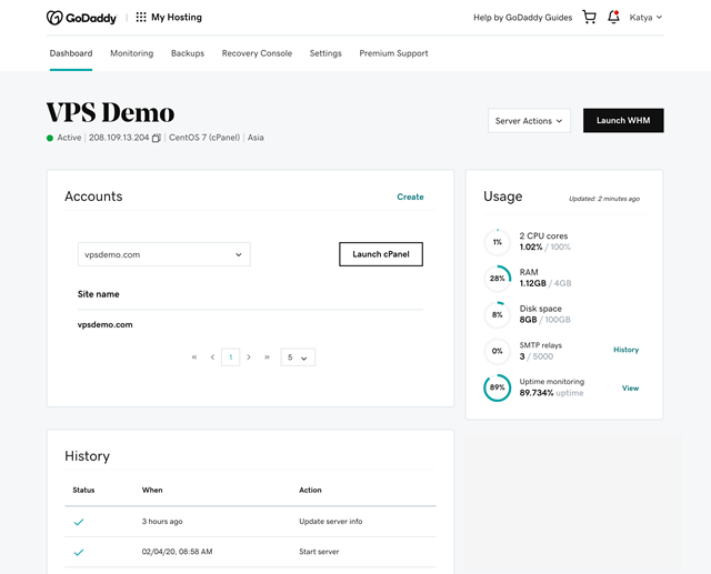 GoDaddy VPS Hosting User Interface