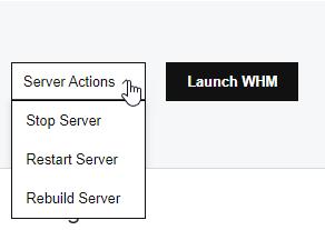 Start, stop or rebuild your GoDaddy VPS hosting server