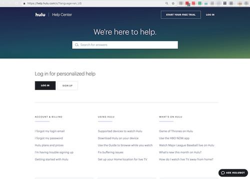 FAQ Page Hulu Help Center