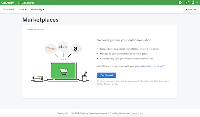 screenshot of GoCentral Online Store Marketplaces launch page