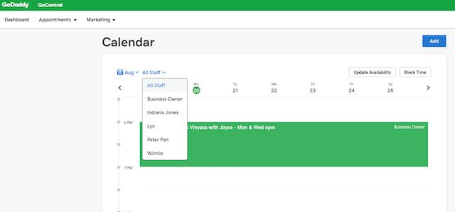 screenshot of staff calendar view from admin site