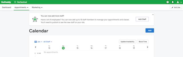 screenshot of Online Appointments dashboard in GoCentral Website Builder