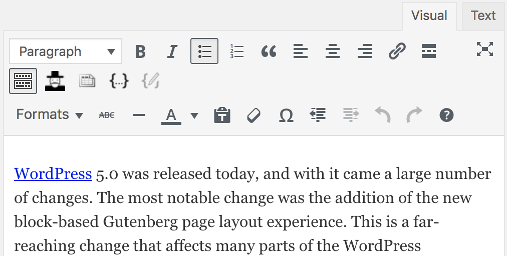 Screenshot of the WordPress Classic Editor