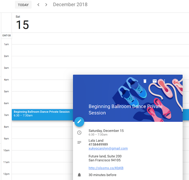 screenshot of new Online Appointments calendar syncing booking details