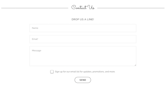 screenshot of Contact Us form with email opt-in on a GoCentral Website Builder site